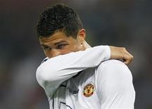 <p>Cristiano Ronaldo del Manchester United durante la finale di Champions League contro il Barcellona a Roma. REUTERS/Albert Gea</p>