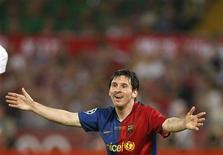 <p>Jogador Lionel Messi do Barcelona em jogo contra o Manchester United na Liga dos Campeões em Roma. 27/05/2009. REUTERS/Albert Gea</p>