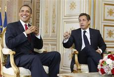 <p>President Barack Obama and French President Nicolas Sarkozy speak during a bilateral meeting at The Prefecture in France June 6, 2009. REUTERS/Larry Downing</p>