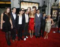 "<p>Cast members (L-R) Sasha Barrese, Ed Helms, Justin Bartha, director Todd Phillips, Heather Graham, Bradley Cooper, Ken Jeong and Rachael Harris, pose together at the Los Angeles premiere of the film ""The Hangover"" at the Grauman's Chinese theatre in Hollywood, California, June 2, 2009. REUTERS/Danny Moloshok</p>"
