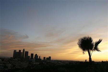 The skyline of downtown Los Angeles is pictured at sunset in this March 3, 2009 file photo. REUTERS/Mario Anzuon/Files