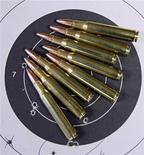 <p>Мишень и патроны калибра .223 в магазине в Дугласе, Аризона 14 мая 2008 года. Украинский транспортный самолет, направлявшийся в Экваториальную Гвинею, был задержан в Нигерии после того как силы безопасности обнаружили на его борту оружие, сообщили представители властей Нигерии и украинские СМИ. REUTERS/Jeff Topping</p>