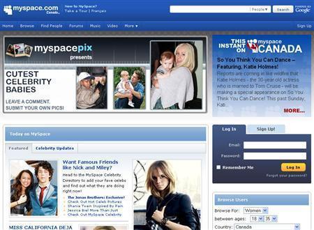A screengrab taken on June 16, 2009 shows MySpace.com. REUTERS/MySpace.com