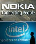 <p>Intel annonce un partenariat technologique avec le finlandais Nokia qui pourrait permettre au fabricant américain de semi-conducteurs d'opérer la percée qu'il attend sur le marché des appareils mobiles. /Photos d'archives/REUTERS/Bob Strong et Pichi Chuang</p>