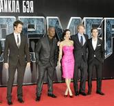 "<p>Actors (from L) Josh Duhamel, Tyrese Gibson, Megan Fox, film director and executive producer Michael Bay and Shia Labeouf pose for a picture as they arrive for the Russian premiere of ""Transformers: Revenge of the Fallen"" in Moscow June 16, 2009. REUTERS/Mikhail Voskresensky</p>"