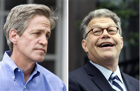 Democrat Al Franken (R) is pictured speaking to reporters outside his home in Minneapolis, as former Senator Norm Coleman meets with the media at his home in St. Paul, in a combination image, June 30, 2009. REUTERS/Eric Miller-R/Andy King-L
