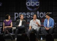 "<p>Cast members Stana Katic (L) and Nathan Fillion (R) sit with executive producers Andrew Marlowe (2nd L) and Rob Bowman as they answer questions during the panel for the ABC series ""Castle"" at the Television Critics Association winter press tour in Los Angeles January 16, 2009. REUTERS/Phil McCarten</p>"