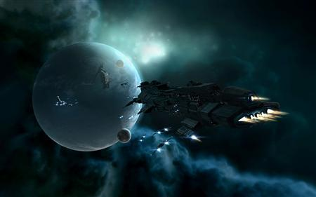 An in-game screenshot shows spaceships approaching a station orbiting a planet in EVE Online. REUTERS/CCP/Handout