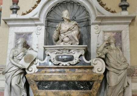 The tomb of astronomer Galileo Galilei is seen at the Santa Croce basilica in Florence January 22, 2009. REUTERS/Marco Bucco