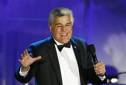 Talk show host Jay Leno speaks on stage at the 17th Carousel of Hope Ball in Beverly Hills, California October 28, 2006. REUTERS/Mario Anzuoni