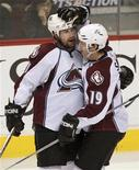 <p>Colorado Avalanche's Peter Forsberg (L) is congratulated by teammate Joe Sakic after Foresberg scored against the Vancouver Canucks during third period NHL play in Vancouver, British Columbia April 1, 2008. This was Forseberg's first goal since returning to the Avalanche. REUTERS/Andy Clark</p>