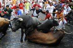 <p>Tori caduti nel sesto giorno di corse al festival di san Firmino a Pamplona, 12 luglio 2009. REUTERS/Eloy Alonso</p>