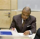 <p>Former Liberian President Charles Taylor in the courtroom of the International Criminal Court (ICC) prior to the beginning of his defence case, July 13, 2009. Robin van Lonkhuijsen/United Photos/Pool</p>