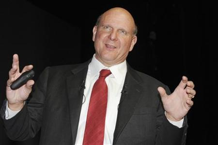Microsoft CEO Steve Ballmer delivers a speech during a session at the International Advertising Festival, Cannes Lions 2009, in Cannes southern France, June 24, 2009. REUTERS/Alain Issok