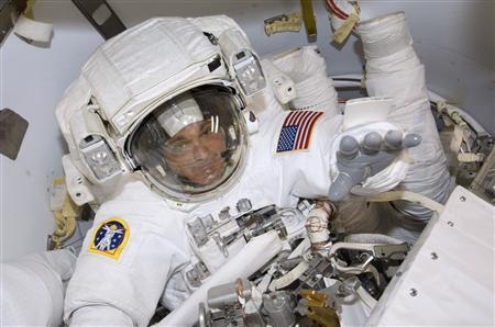 Astronaut Dave Wolf prepares for the first of a series of five spacewalks, July 18, 2009, by the STS-127 crew from the International Space Station in this image released by NASA July 19, 2009. Photo taken July 18, 2009. REUTERS/NASA/Handout