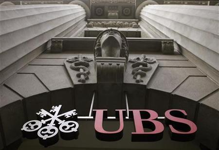 The logo of Swiss bank UBS is seen at the company's office at the Bahnhofstrasse in Zurich in this July 1, 2009 file photo. REUTERS/Arnd Wiegmann/Files