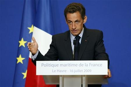 France's President Nicolas Sarkozy delivers a speech about the nation's maritime policy in the port city of Le Havre July 16, 2009. REUTERS/Benoit Tessier