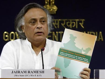 Jairam Ramesh, India's environment minister, speaks during a news conference in New Delhi July 31, 2009. India will spend some $200 million to protect its forests and will announce how much carbon emission is being captured by its green cover, the environment minister said on Friday. REUTERS/Fayaz Kabli