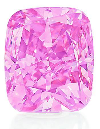 An undated handout photo of a rare, 5-carat pink diamond, which will be sold in Hong Kong this December by Christie's, which expects the stone to hover near world record prices. The stone, set in a so-called ''cushion-cut'' ring by famed jewellers Graff Diamonds, is expected to fetch between $5-$7 million, in reach of the current world auction record for a pink diamond -- a 19.66-carat stone that sold in Geneva for $7.4 million in 1994. REUTERS/Christie's/Handout