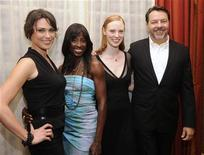 "<p>""True Blood"" creator Alan Ball (R) poses with cast members (L-R) Michelle Forbes, Rutina Wesley and Deborah Ann Wall at the 25th Annual Television Critics Association Awards in Pasadena, California August 1, 2009. REUTERS/Phil McCarten</p>"