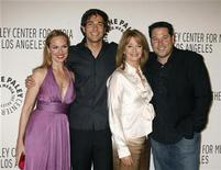 "<p>Actors from NBC TV series (L-R) Melora Hardin of ""The Office,"" Zachary Levi of ""Chuck,"" Deidre Hall of ""Days of Our Lives,"" and Greg Grunberg of ""Heroes"" pose as they arrive at Paley Center for Media Los Angeles Gala honoring NBC's Jeff Zucker and Dick Ebersol in Los Angeles November 12, 2007. REUTERS/Fred Prouser</p>"