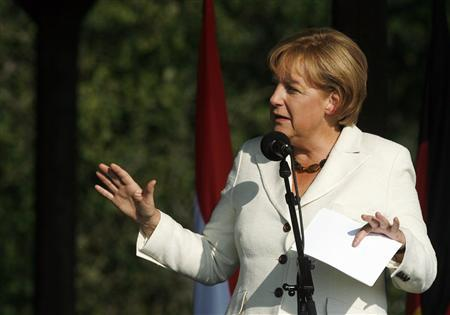 German Chancellor Angela Merkel speaks at a ceremony to commemorate the 20th anniversary of the Pan-European Picnic in Sopronpuszta, western Hungary August 19, 2009. REUTERS/Laszlo Balogh