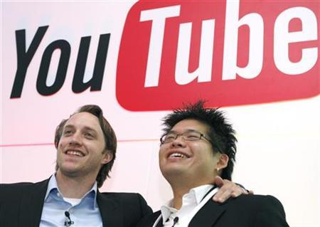 Chad Hurley (L) and Steve Chen, co-founders of YouTube, which was acquired by Web search leader Google Inc. for $1.65 billion last year, pose after a news conference in Paris June 19, 2007. REUTERS/Philippe Wojazer