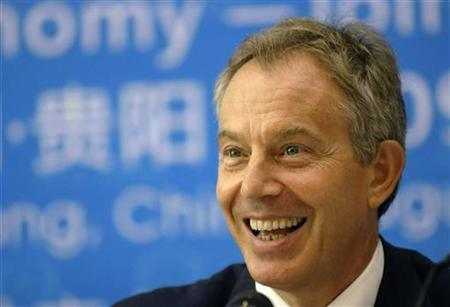 Tony Blair, former British prime minister and a partner of the environmental organisation, ''The Climate Group'', attends the Ecological Civilisation Guiyang Summit in Guiyang, Guizhou province August 22, 2009. REUTERS/Stringer