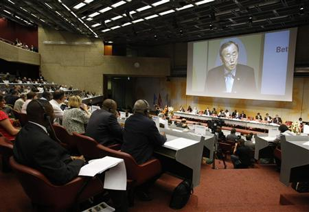 United Nations Secretary-General Ban Ki-moon addresses the delegates during the high level segment of the World Climate Conference-3 (WCC-3) at the International Conference Centre Geneva (CICG) in Geneva September 3, 2009. REUTERS/Denis Balibouse