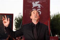 <p>Venezia, Nicolas Cage è il cattivo tenente di Herzog. REUTERS Alessandro Bianchi</p>