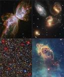 <p>Combinación de imágenes tomadas por el telescopio espacial Hubble, 9 sep 2009. El Telescopio Espacial Hubble descubrió una nueva galaxia con forma de mariposa y filamentos de polvo interestelar que contienen elementos de vida que está siendo reciclada en nuevas galaxias, dijo el miércoles la NASA. La agencia espacial reveló el primer grupo de imágenes del telescopio en órbita Hubble, reparado por astronautas que viajaron hasta él en transbordador en mayo, y dijo que demostraban que el telescopio ha vuelto a reinventarse. REUTERS/NASA/Handout (IMAGENES DEL DIA)</p>
