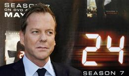 "<p>Cast member of ""24"" Keifer Sutherland poses at a screening of the season finale of Fox television drama series ""24"" season seven in Los Angeles,California May 12, 2009. REUTERS/Fred Prouser</p>"