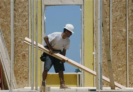 A worker constructs a new home in Geneva, Illinois, June 23, 2009. REUTERS/Jeff Haynes