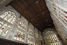 <p>An interior view shows Holy Trinity Church where William Shakespeare was baptized and buried in Stratford-upon-Avon, southern England September 21, 2009. The roof of the church where William Shakespeare's remains lie is in danger of collapse, the group dedicated to the church's preservation said on Monday. REUTERS/Eddie Keogh</p>