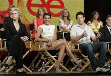 "<p>The cast of the new series ""Glee"" discuss the show at the Fox Summer Television Critics Association press tour in Pasadena, California August 6, 2009. REUTERS/Fred Prouser</p>"