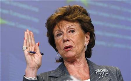 European Commissioner for Competition Neelie Kroes speaks at a news conference at the European Commission headquarters in Brussels July 8, 2009 file photo. REUTERS/Thierry Roge
