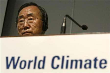United Nations Secretary-General Ban Ki-moon looks on at a news conference after the high level segment of the World Climate Conference-3 (WCC-3) at the International Conference Centre Geneva (CICG) in Geneva September 3, 2009. REUTERS/Denis Balibouse