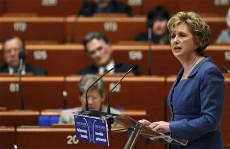 Ireland's President Mary McAleese addresses the Parliamentary Assembly of the Council of Europe in Strasbourg, June 23, 2009. REUTERS/Vincent Kessler