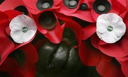 <p>A service-goer holds a red poppy wreath decorated with white poppies of peace during a service in central London, November 11, 2006. REUTERS/Toby Melville</p>