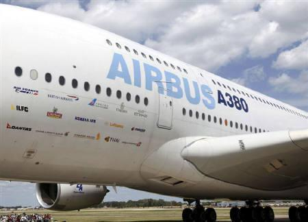 An Airbus-380, with a capacity of 853 passengers, displays signage from the airlines that fly the aircraft while sitting on the tarmac at Wittman Field site of the Experimental Aircraft Association Convention in Oshkosh, Wisconsin in this July 28, 2009 file photo. REUTERS/Allen Fredrickson/Files