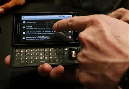 The new Droid phone, a Motorola Inc. and Verizon Wireless phone based on Google Inc's Android 2.0 system, is shown at a media event in New York October 28, 2009. REUTERS/Brendan McDermid