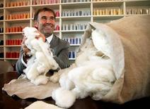 <p>Italian clothing designer Brunello Cucinelli holds raw cashmere wool in the Umbrian village of Solomeo October 7, 2009. Picture taken October 7, 2009. REUTERS/Alessandro Bianchi</p>