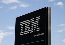 <p>Il logo di Ibm. REUTERS/Rick Wilking</p>