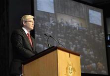 <p>Rudd durante il discorso di scuse a Canberra. REUTERS/Auspic/Handout (AUSTRALIA POLITICS)</p>