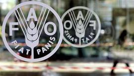 <p>Il logo della Fao nella sede dell'Agenzia dell'onu a Roma. REUTERS/Alessandro Bianchi</p>