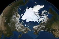 <p>The Advanced Microwave Scanning Radiometer (AMSR-E), a high-resolution passive microwave Instrument on NASA's Aqua satellite shows the state of Arctic sea ice on September 10 in this image released September 16, 2008. REUTERS/NASA/Goddard Space Flight Center Scientific Visualization Studio/Handout</p>