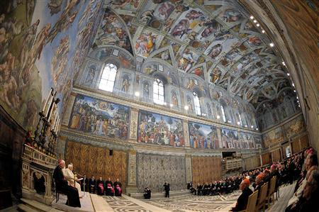 Pope Benedict XVI leads a special meeting with artists in the Sistine Chapel at the Vatican November 21, 2009. Picture taken with fish-eye lens. REUTERS/Osservatore Romano