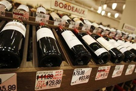 French wines are displayed on sale at Union Square Wines in New York November 16, 2009. REUTERS/Mike Segar
