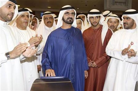 Sheikh Mohammed bin Rashid al-Maktoum (C), Ruler of Dubai and United Arab Emirates' Vice President, attends the opening ceremony of Metro Dubai September 9, 2009. REUTERS/Dubai Ruler Media Office/Handout