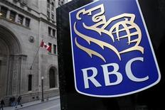 <p>A Royal Bank of Canada (RBC) logo is seen at a branch in Toronto, November 9, 2007. REUTERS/Mark Blinch</p>